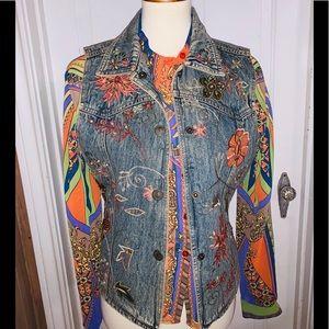 Vintage Flashback Couture Embroidered Jean Jacket.